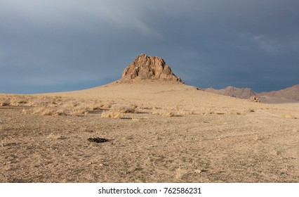 Typical Mongolian landscape. The sky, sand and stones