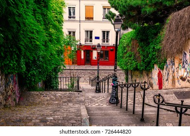 Typical Montmartre staircase in Paris, France. Architecture and landmarks of Paris. Postcard of Paris