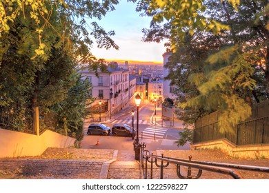 Typical Montmartre staircase to Sacre-Coeur in the morning at sunrise, quarter Montmartre in Paris, France