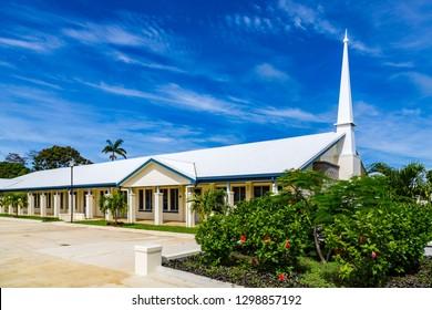 Typical Mormon church (The Church of Jesus Christ of Latter-day Saints) in rural Oceania. Hihifo road, Teekiu village, Tongatapu island, Tonga, Polynesia, South Pacific Ocean.