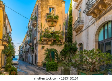 Typical narrow italian street with green plants in a famous island Ortigia, Syracuse, Italy