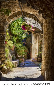 Typical Narrow Path in the Medieval Village of Peillon, Alpes-Maritimes, Provence, France