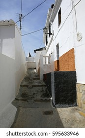 typical narrow spanish street in Andalusia, Costa del Sol, Spain