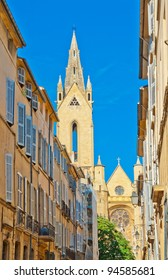 Typical narrow street in Aix en Provence, France