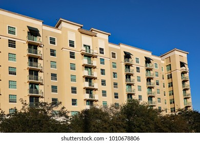 Typical new apartments in downtown West Palm Beach, Florida, near the new high speed train service, Brightline, and CityPlace.
