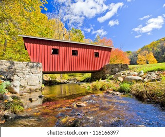Typical new England covered bridge in the fall