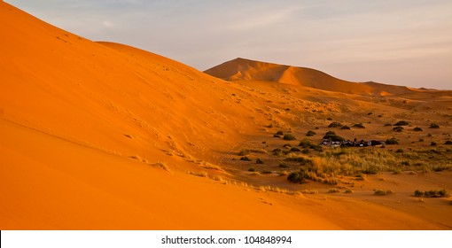 Typical nomad berber camping site in evening warm sunset light