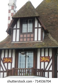typical Normandy wooden house with symbol of normandy