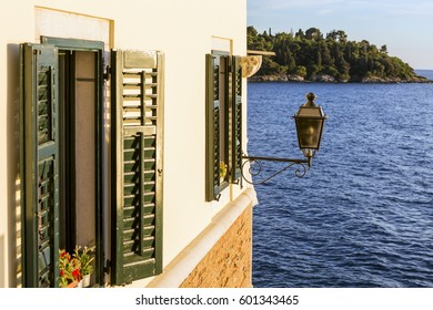 Typical old beach house on the Mediterranean coast in Rovinj.