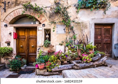 typical old facade in italy - tuscany