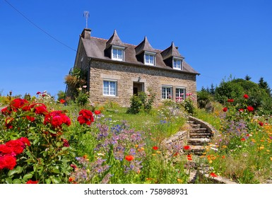 typical old house and garden in Brittany, France