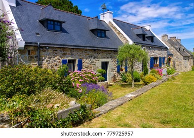 typical old house and hydrangea flower in Brittany, France