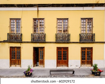 typical old spanish facade - tenerife - canary island