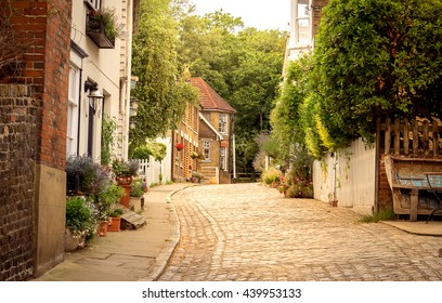 Typical old style English village at spring time