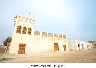 Typical old style Middle Eastern house in the desert town of Al Wakrah (Al Wakra), Qatar, in the Middle East