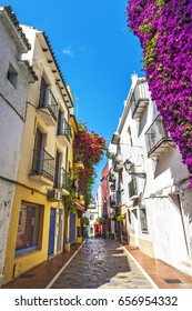 Typical old town street in Marbella, Costa del Sol, Andalusia, Spain, Europe