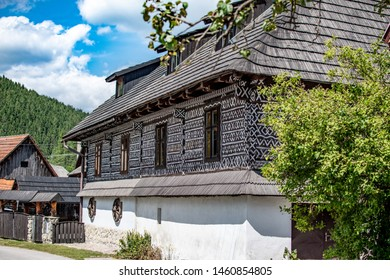 Typical old wooden house in Cicmany, Slovakia. Traditional folk architecture in a beautiful remote touristic village.