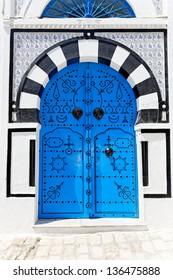 Typical Ornamental Blue Door in Sidi Bou Said, Tunisia