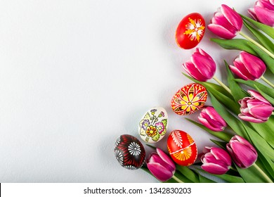 Typical painted easter egg from Slovakia with tulips..