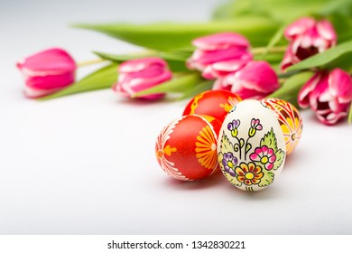 Typical painted easter egg from Slovakia with tulips.