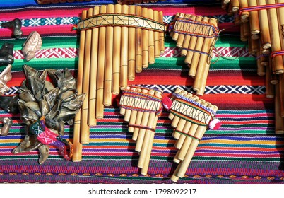 Typical pan flutes souvenirs sold at the local market, Peru, South America
