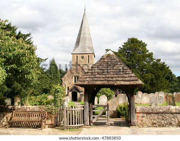 """Typical Parish Church in Shere, Surrey, England. Appeared in the film """"The Holiday""""."""