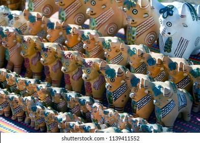 "Typical Peruvian artisanal bulls. ""Pucara Bulls"" is a symbol of Peru."