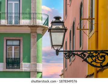 Typical Portuguese architecture and colorful buildings of Lisbon historic city center.