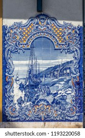 Typical Portuguese Azulejos or Blue tiles with traditional rural scenes, in the facade of Mercado Municipal Farmers Market of Santarem, Portugal