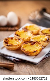 "Typical Portuguese custard pies - ""Pastel de Nata"" or ""Pastel de Belem"". traditional portuguese pastry."