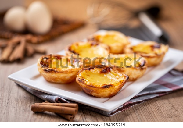 "Typical Portuguese custard pies - ""Pastel de Nata"" or ""Pastel de Belem"". traditional portuguese pastry."