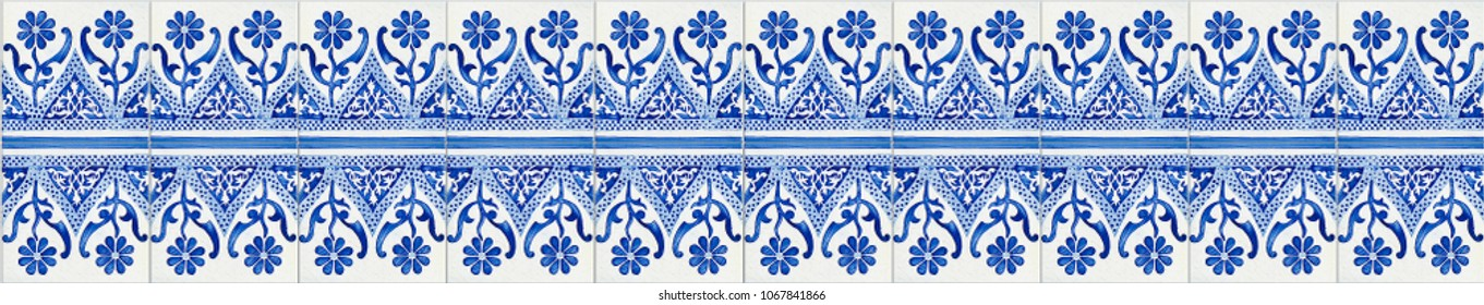 Typical Portuguese decorations with colored ceramic tiles - seamless texture
