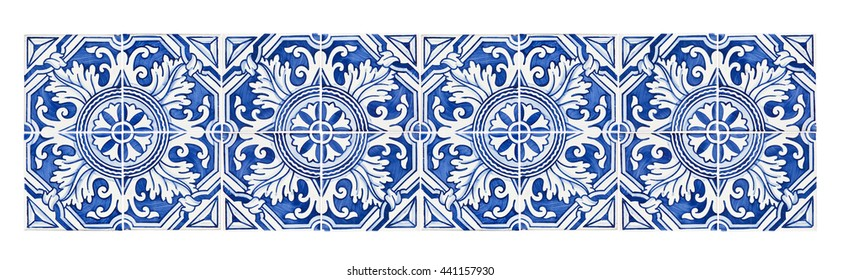 Typical Portuguese decorations with colored ceramic tiles - frontal view