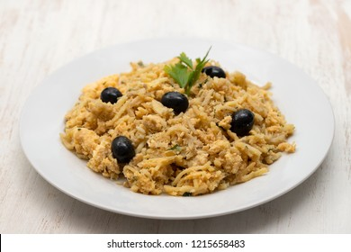 typical portuguese dish bacalhau a bras