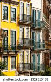 Typical Portuguese facade with balcons