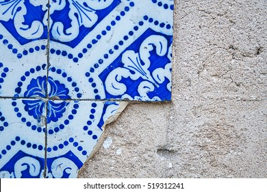 Typical portuguese tiles, broken azulejos with pattern