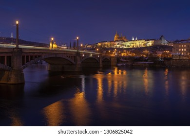 Typical Prague panorama of castle and manes bridge in Czech Republic at night