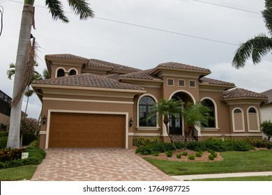 Typical private home at an affluent residential area on Marco Island, Florida.