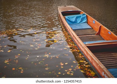 A typical punt boat moored along the river Cam in Cambridge. Autumnal leaves floating on the water. Landscape format.