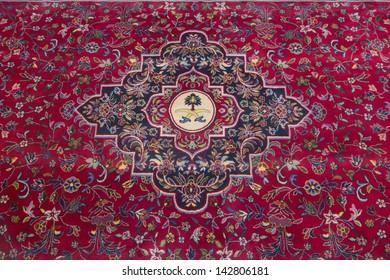 Typical red carpet in a mosque in Saudi Arabia.