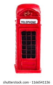 a typical red english phone booth isolated over a white background