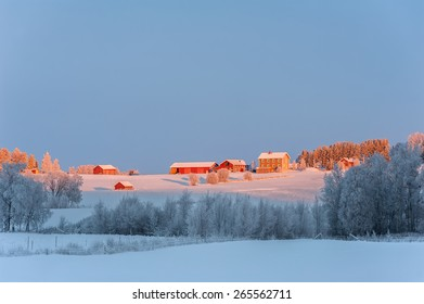 Typical red, wooden farm-houses set in the snowy countryside of northern Sweden.
