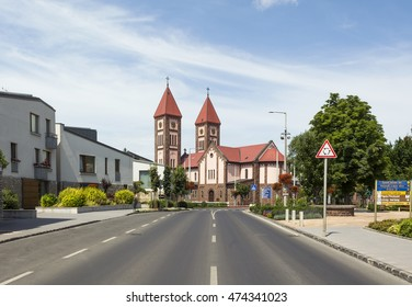 Typical red-sandstone Catholic church,old town center of Balatonfured,Hungary. Also named as 'Red Church' and 'Christ the King Church',