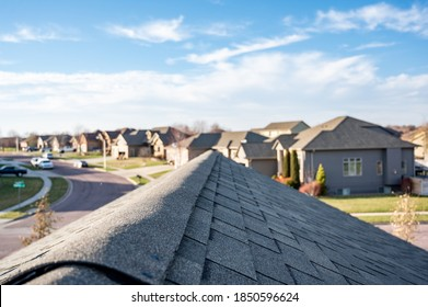 Typical residentail ridge cap on a shingle roof apex