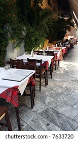 Typical restaurant-terrace in the Plaka quarters, Athens