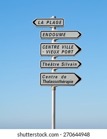 A typical road sign of landmarks in Marseille in South France