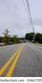 Typical roadway seen in a suburb of a US town.
