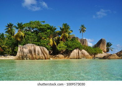 Typical rock formation at Anse Source d'Argent beach at La Digue island, Seychelles