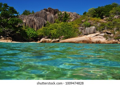 Typical rock formation at cousine island, seychelles