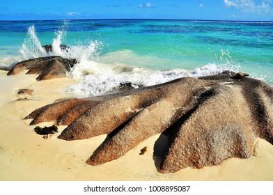 typical rock formation on La Dique island, Seychelles
